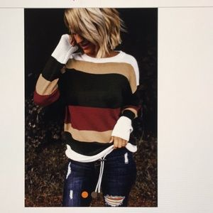 Red Color Block Knit Sweater